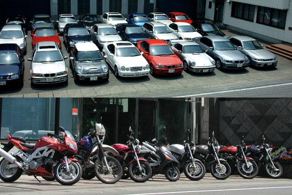 100台以上の調査車両とバイク